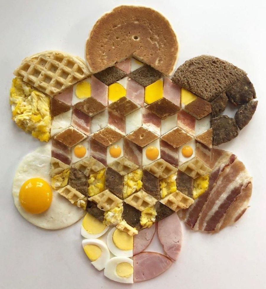 Composición con comida en tonalidades amarillas, café y beige