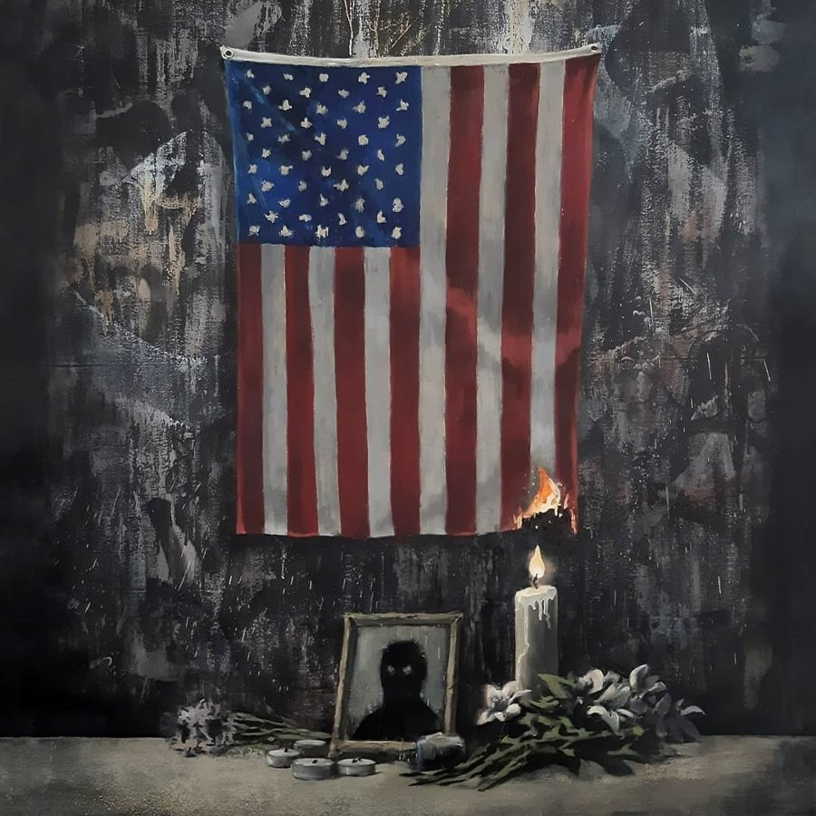 New Banksy mural with U.S. flag and portrait of George Floyd