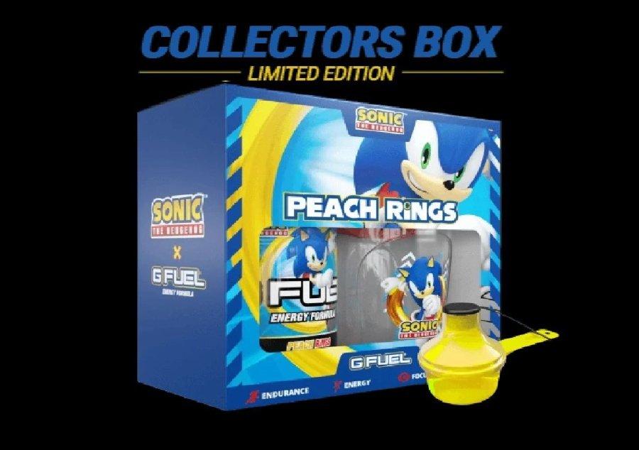 Apariencia de la caja de coleccionista de la bebida energética de Sonic con G Fuel