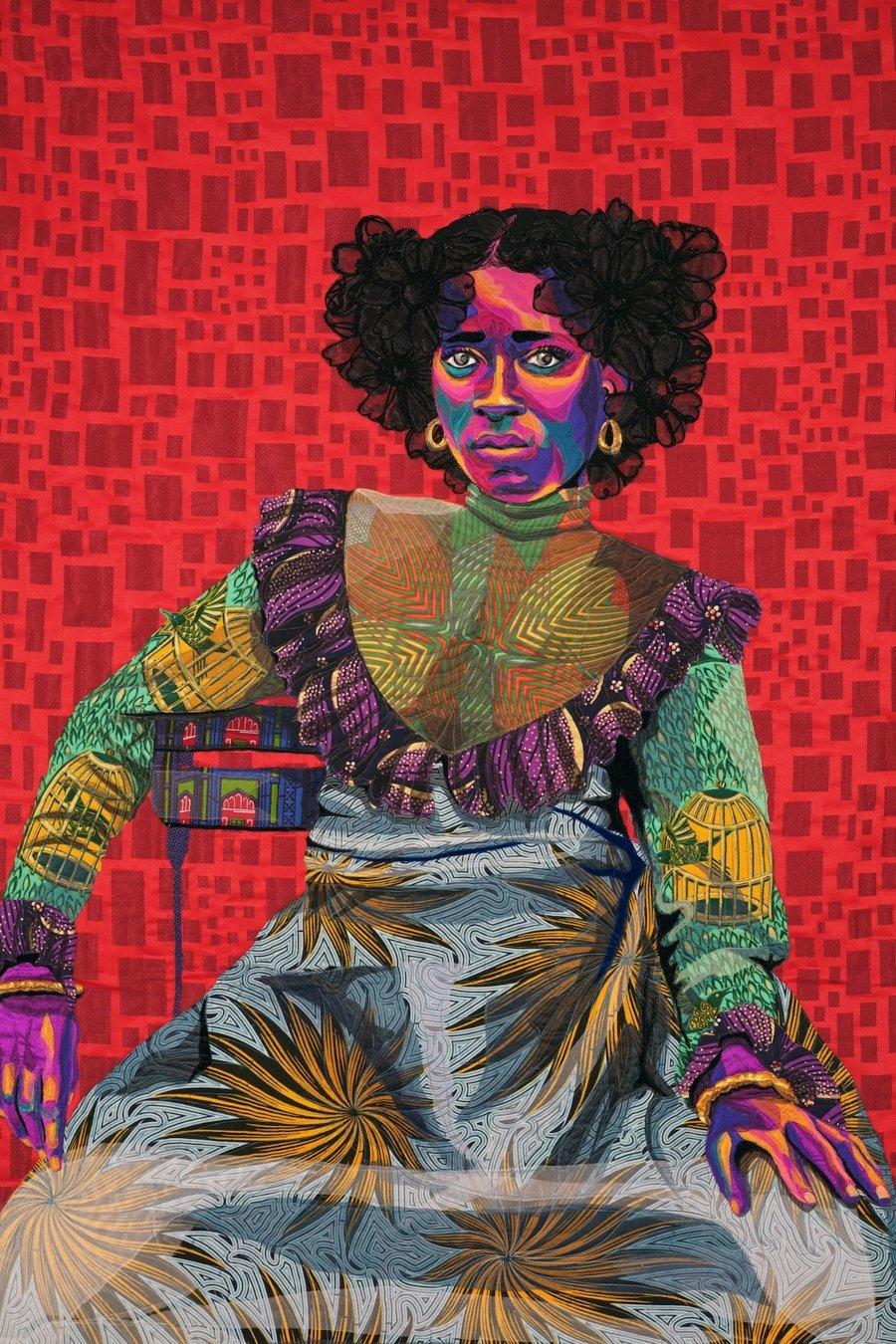 Obra textil de Bisa Butler con el retrato de mujer negra
