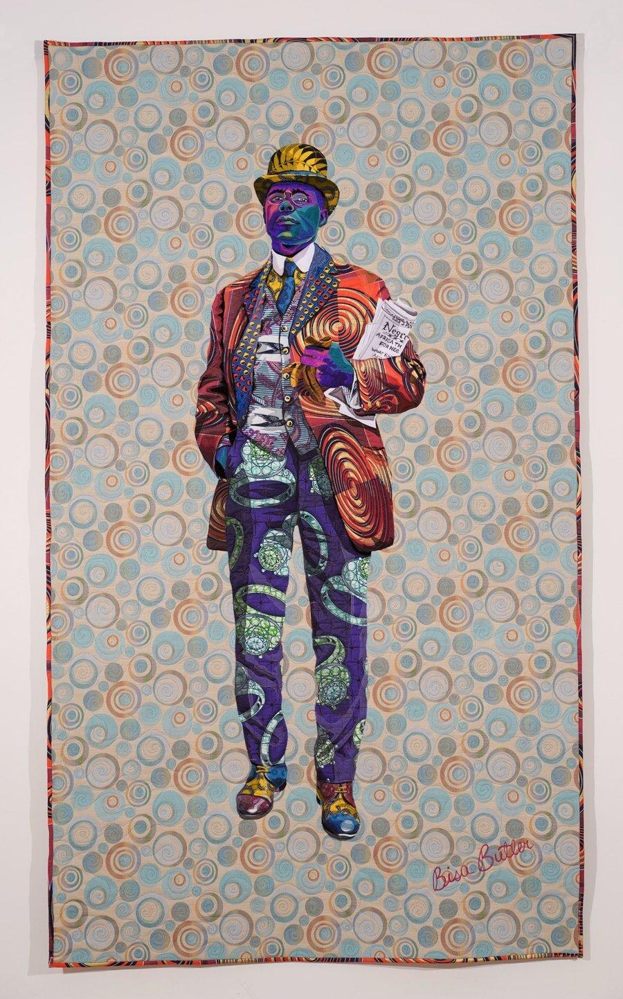 Obra textilcon el retrato de hombre negro