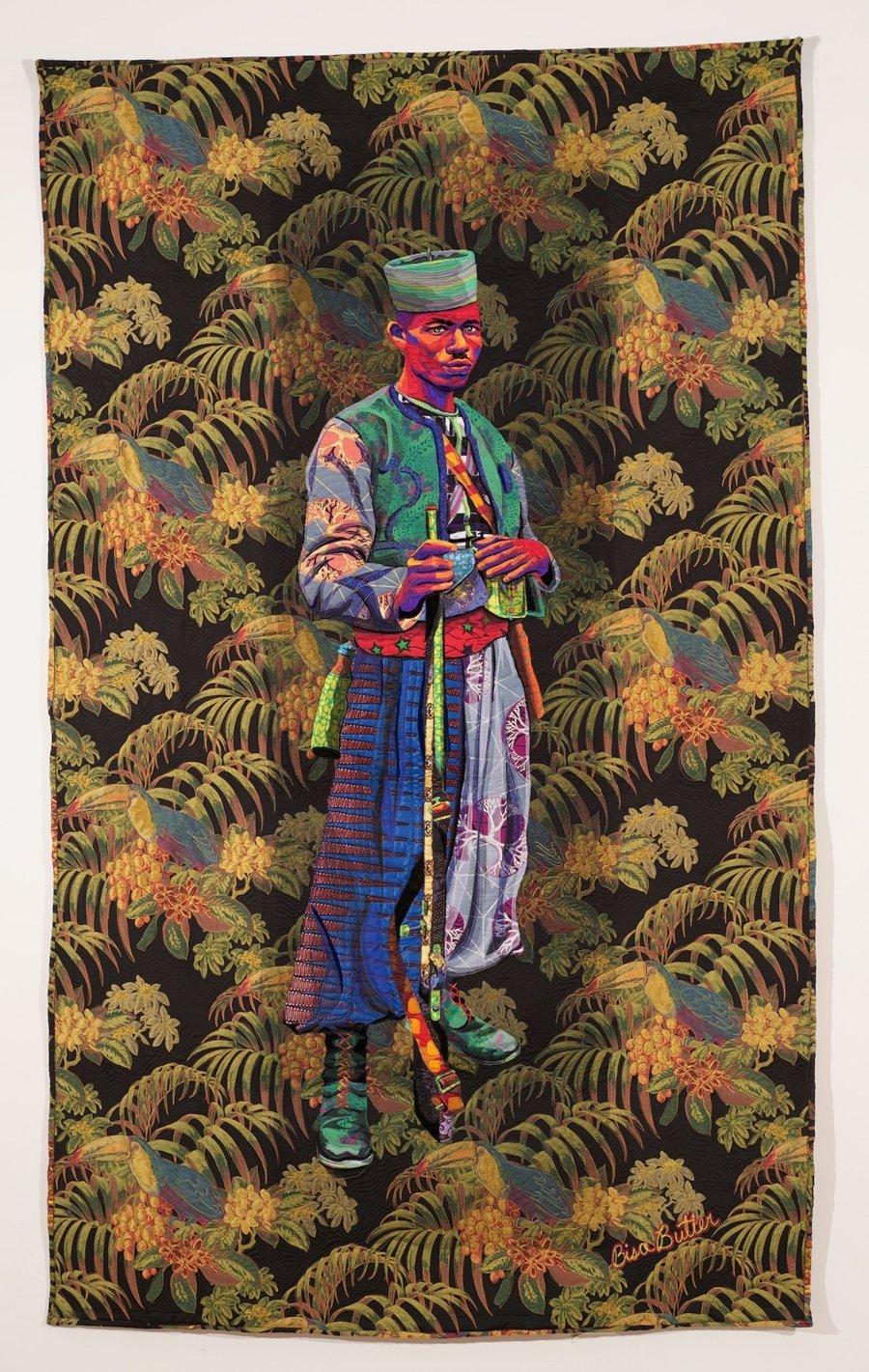 Obra textil de Bisa Butler con el retrato de hombre negro