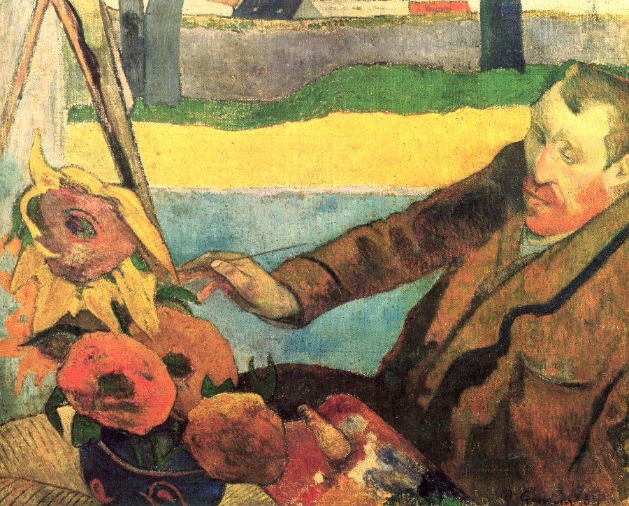 Van Gogh pintando girasoles (Van Gogh peignant des tournesols), 1888