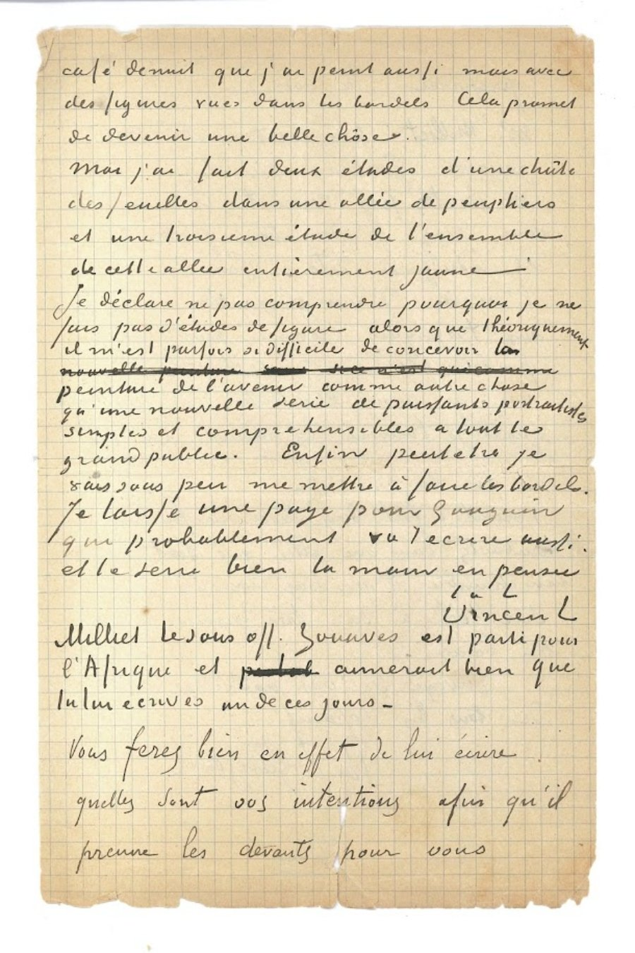Letter (detail) from Vincent van Gogh and Paul Gauguin to Emile Bernard. Courtesy of the Van Gogh Museum, Amsterdam / Vincent van Gogh Foundation.