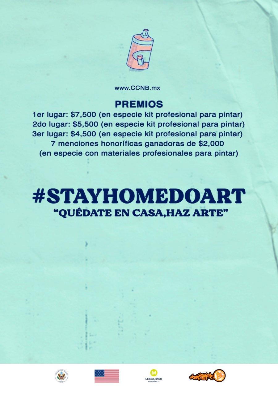 Flyer promocional del concurso de graffiti #STAYHOMEDOART