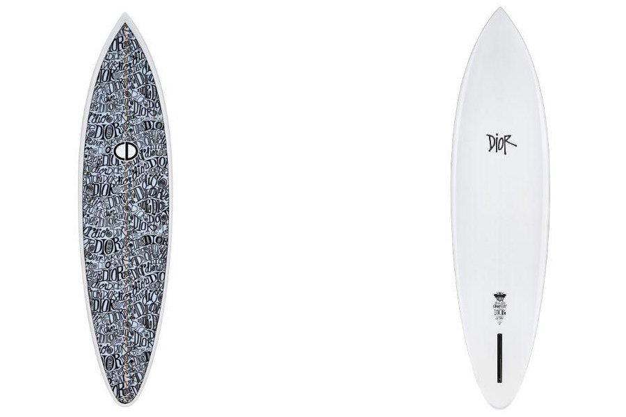 Aspecto gráfico de la tabla de surf intervenida por Shawn Stussy para Dior