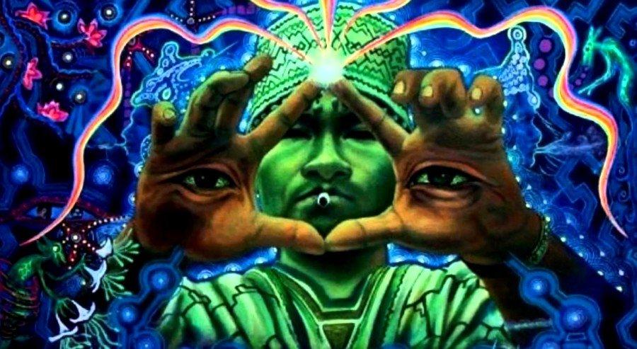 Imagen psicodélica de un chamán uniendo los dedos con ojos