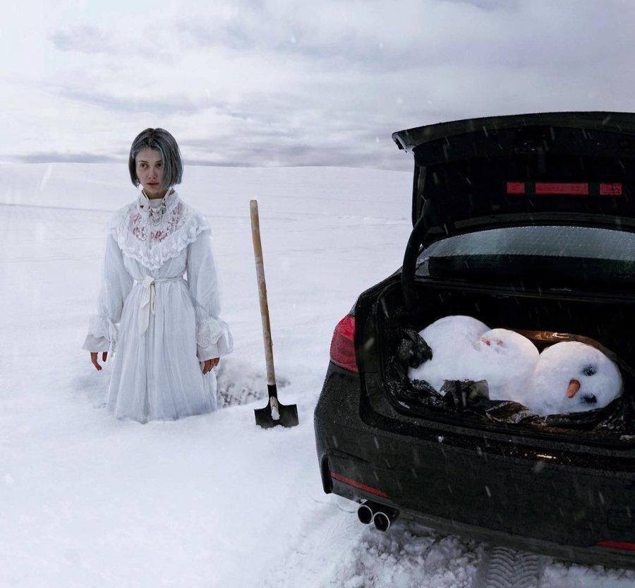 Retrato de Sheidlina  en el asesinato de un muñeco de nieve