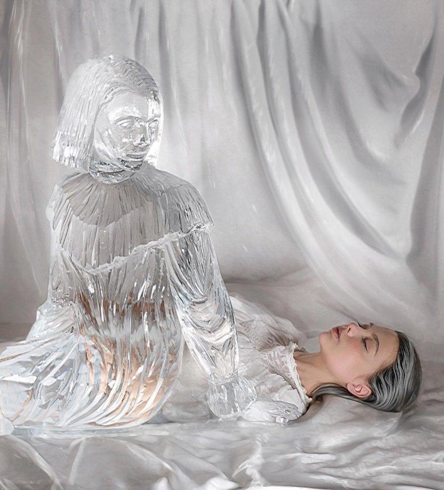 Retrato de Sheidlina con un ente de cristal