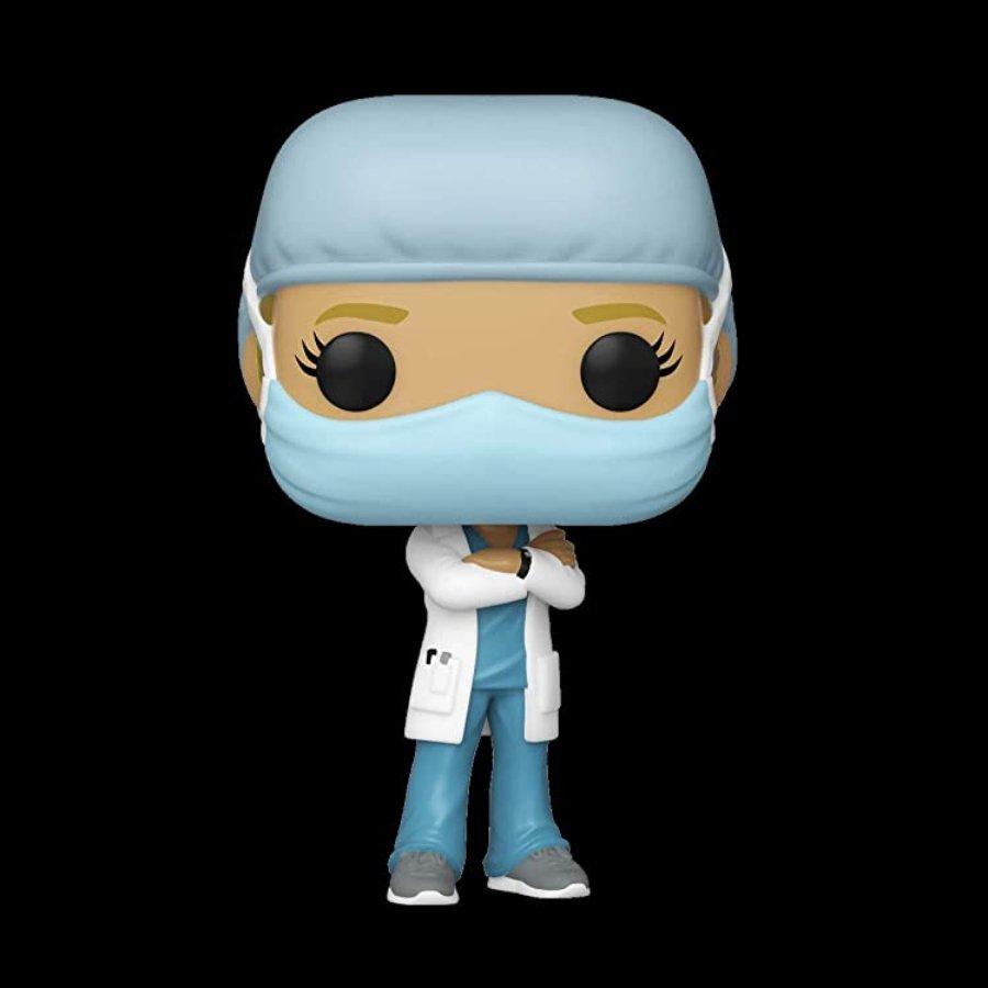 Figura Funko Pop de doctora en homenaje a doctores vs el Covid-19