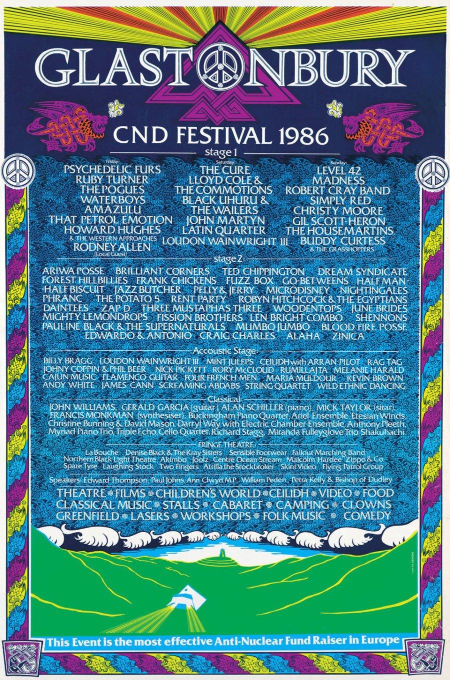 Cartel de la edición de 1986 de Glastonbury