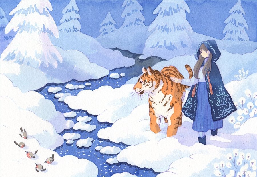 girl accompanied by a tiger in a winter landscape, illustration of Heikala