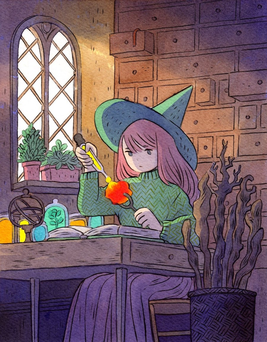 Little witch posing, Heikala illustration