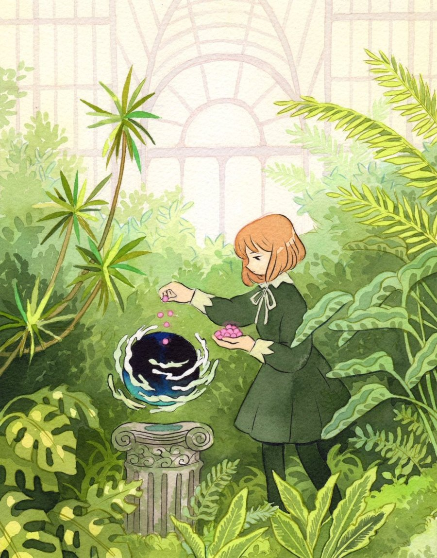 Little girl controlling nature, Illustration by Heikala