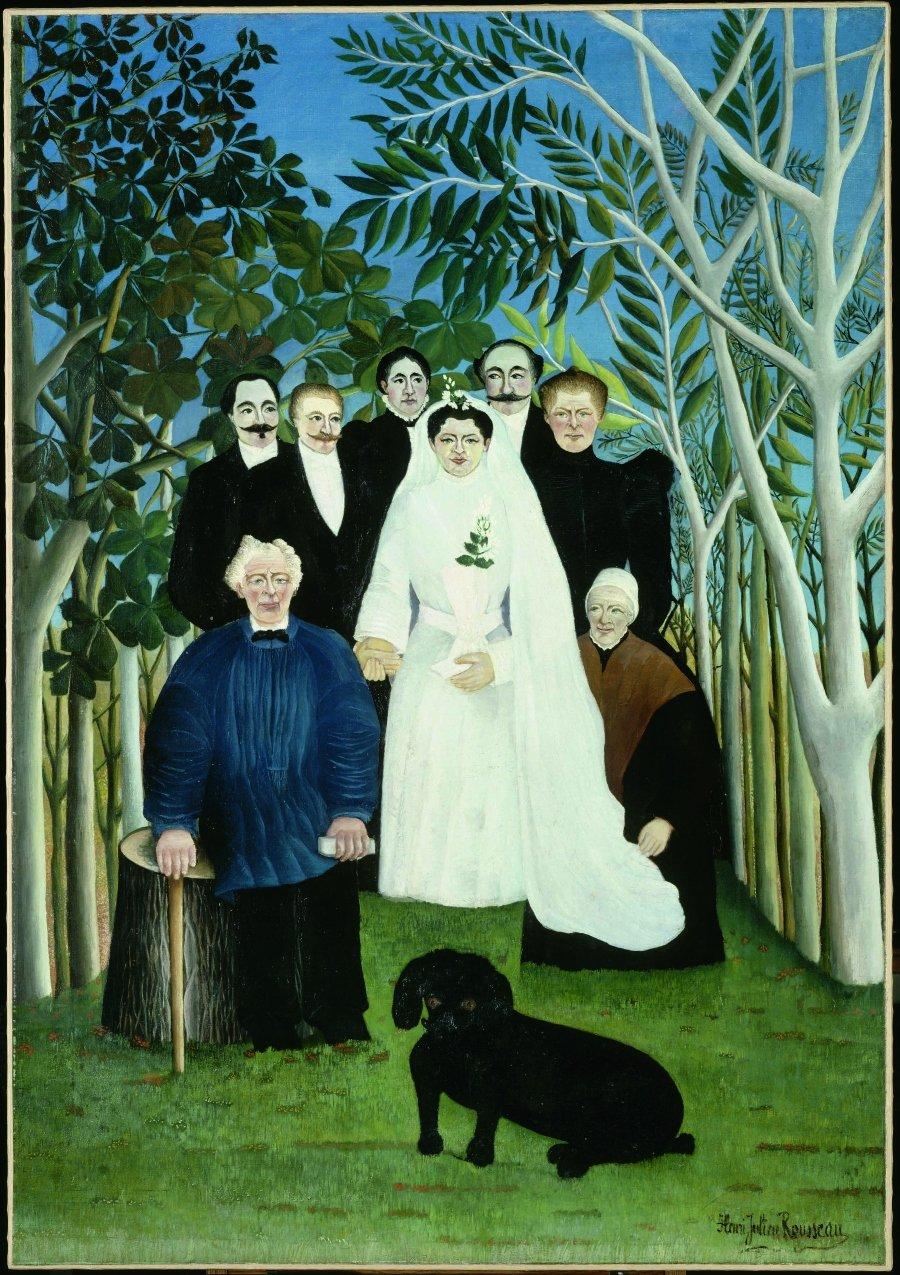 """""""La boda"""" por Henri Rousseau, 1904, óleo sobre lienzo, Musée de l'Orangerie, París."""