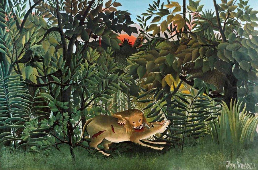 """""""León hambriento atacando a un antílope"""", óleo sobre lienzo, 1898-1905, Fundación Beyeler, Basilea."""