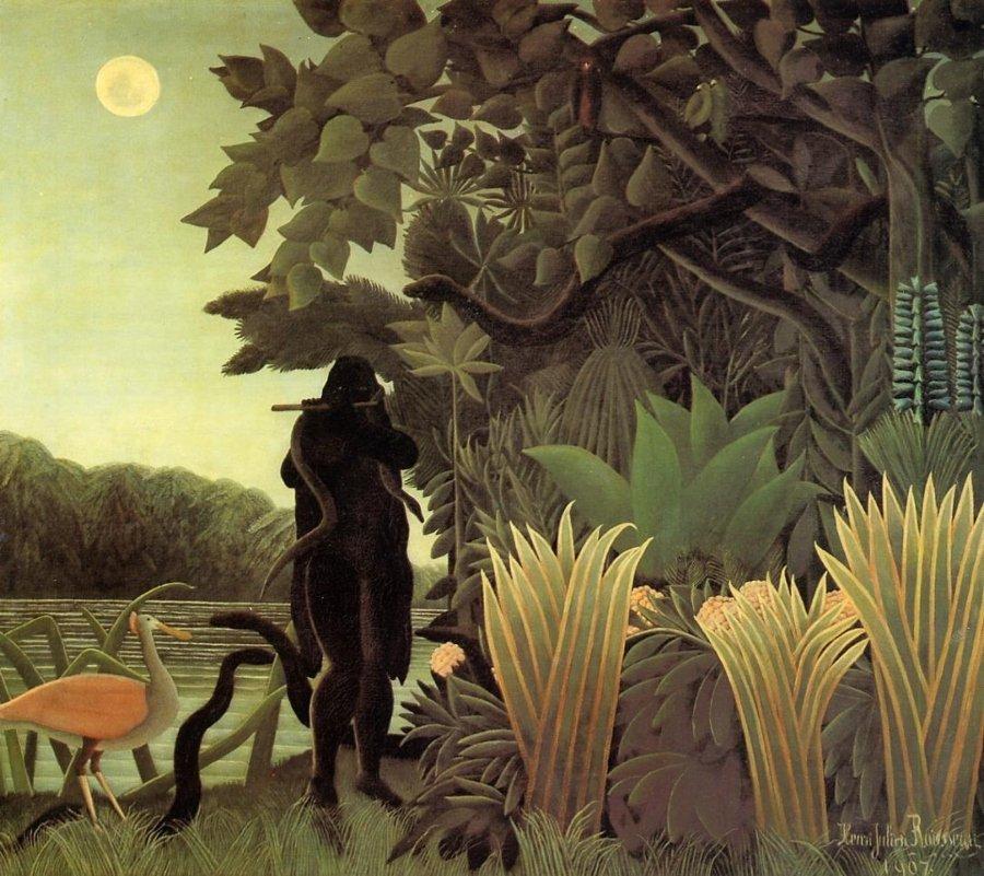 """""""La encantadora de serpientes"""" por Henri Rousseau, óleo sobre lienzo, 1907, Museo de Orsay, París."""