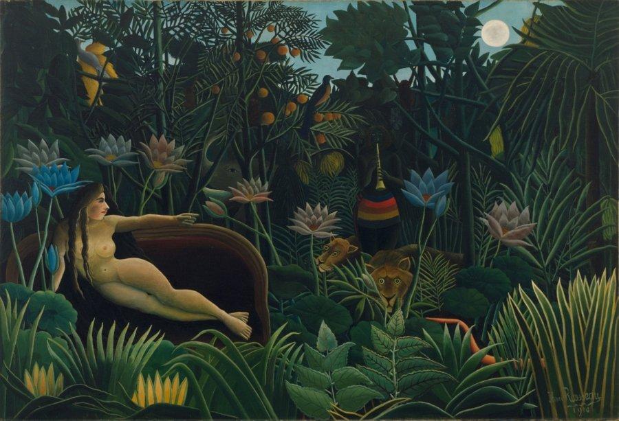 """""""El sueño"""" por Henri Rousseau, óleo sobre lienzo, 1910, Museo de Arte Moderno, Nueva York."""