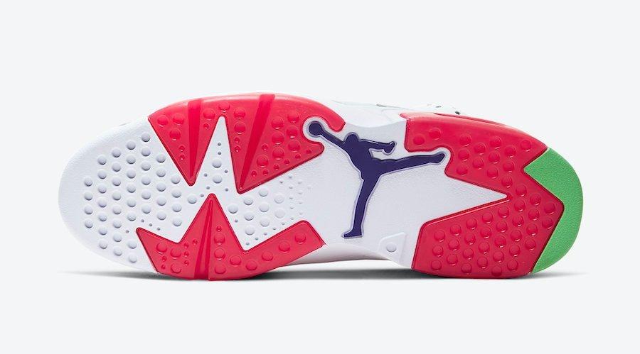 Apariencia de las suela de las nuevas zapatillas Jordan 6 Hare