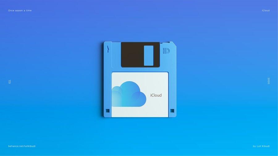 Icloud reimaginado en disquete por Luli Kibudi