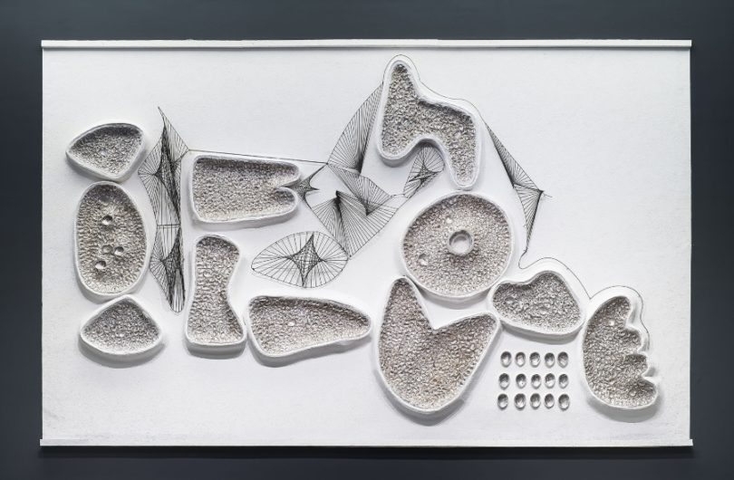 Manuel Felguérez, Canto al océano (fragmento) , 1963, reconstruido para la exposición Trayectorias en 2019.