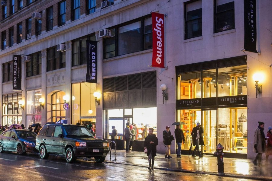 Night view of the Supreme store in New York