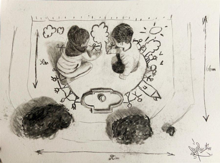 Boceto de Saype de su nuevo mural