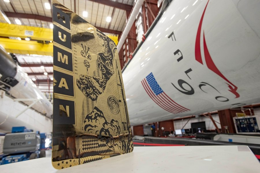 """Tristan Eaton's """"Human"""" which traveled in Space X and NASA's Crew Dragon"""