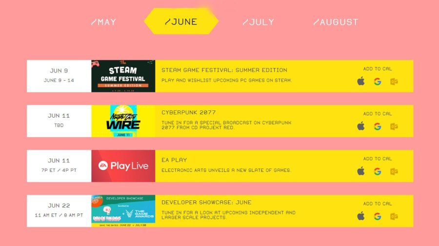 Programación de eventos del mes de junio del summer Gam Fest