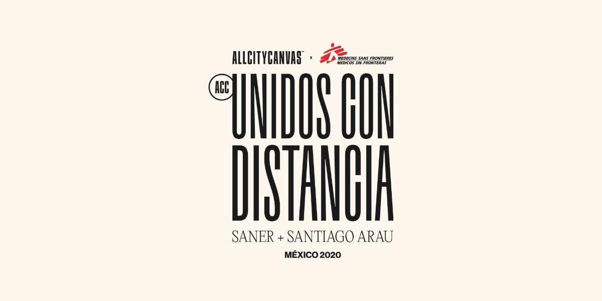 Logo de Unidos Con Distancia, proyecto y campaña que une a Saner, Santiago Arau, All City Canvas y Médicos Sin Fronteras
