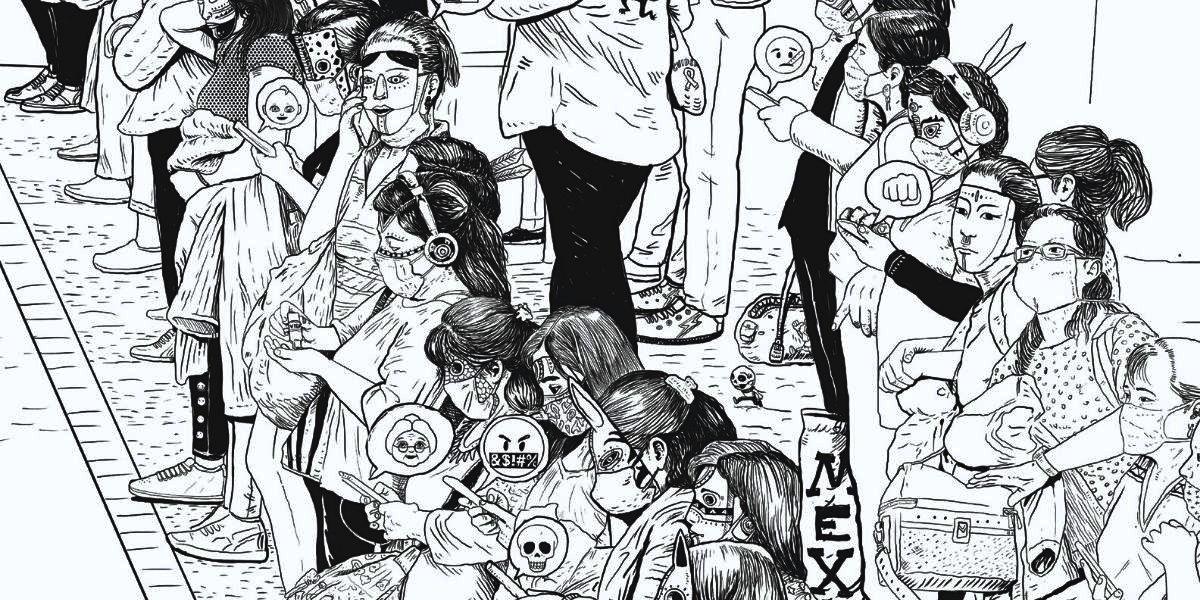 Ilustración de Saner de mujeres con máscaras y tapabocas que miran a su celular, basada en la fotografía de Santiago Arau