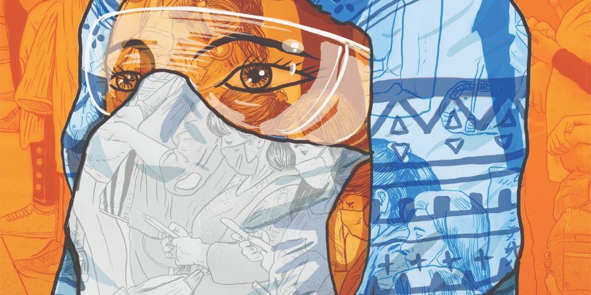 Ilustración de Saner muestra a una enfermera con tapaboca y gafas de seguridad