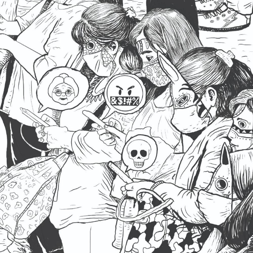 ilustración de Saner de mujeres con máscaras en blanco y negro basada en la fotografía de Santiago Arau para Unidos Con Distancia
