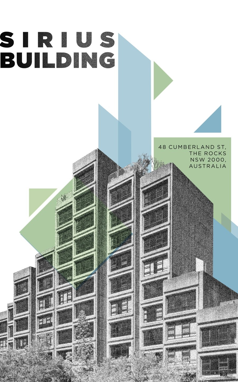 Poster con ilustración de edificio brutalista, parte del proyecto Brutal Beauty