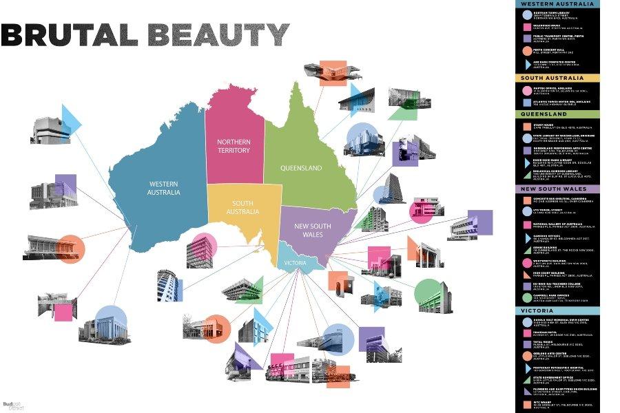 Mapa con ilustración de edificio brutalista, parte del proyecto Brutal Beauty