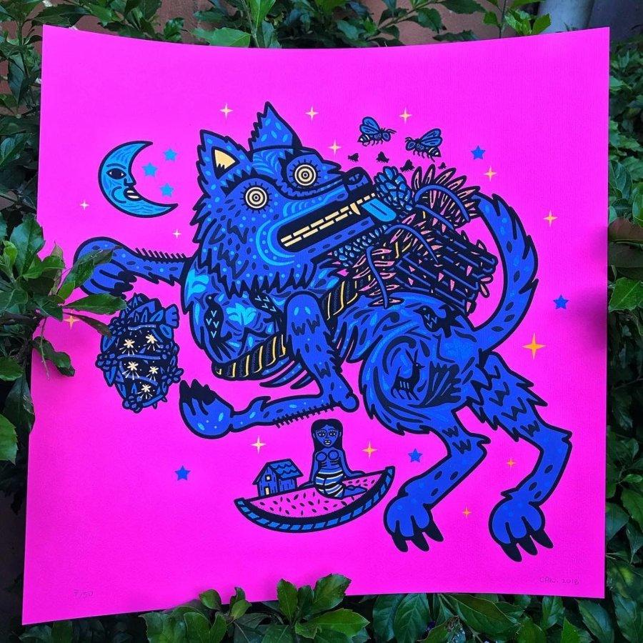 Diseño gráfico de perro azul por c.4.n.