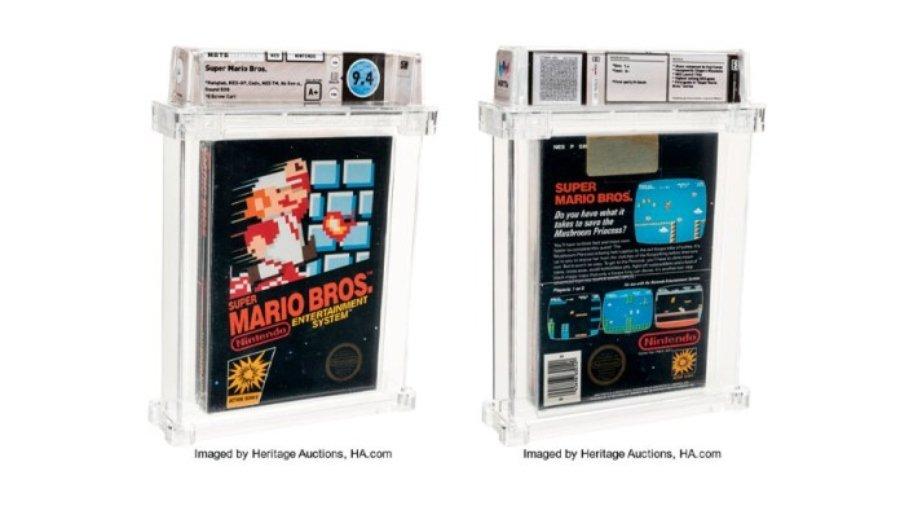 Aspecto del cartucho de Super Mario Bros que se vendió en 114 mil dolares