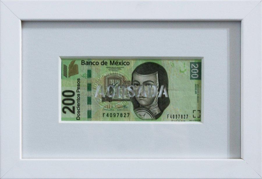 acosada Billete de 200 pesos cortado a mano 6.60 x 14 cm $650.00 usd