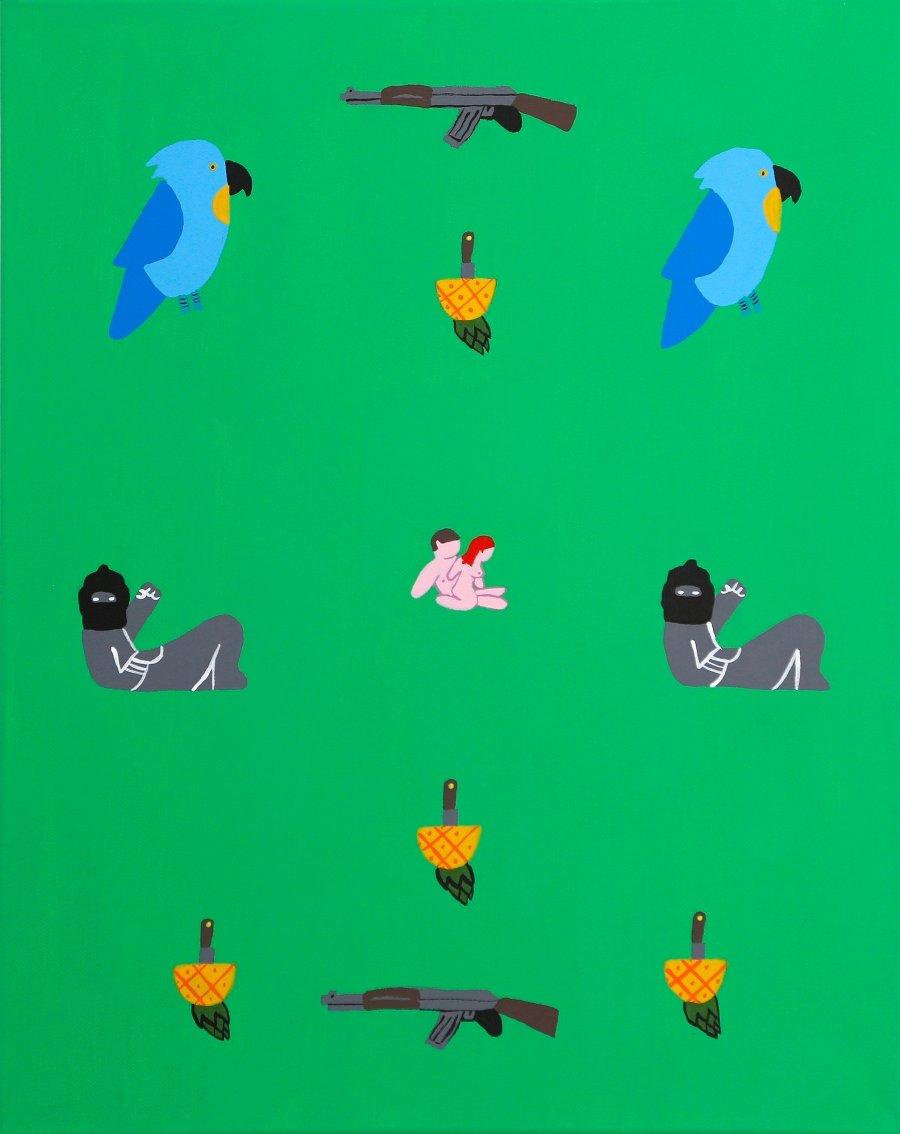 sin titulo (piña - cuchillo) de la serie cómanse la fruta acrilico en lienzo 50 x 40 x 3.50 cm $1,000.00 usd