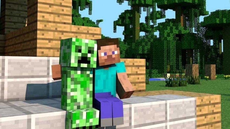 Steve y un creeper, personajes de Minecraft