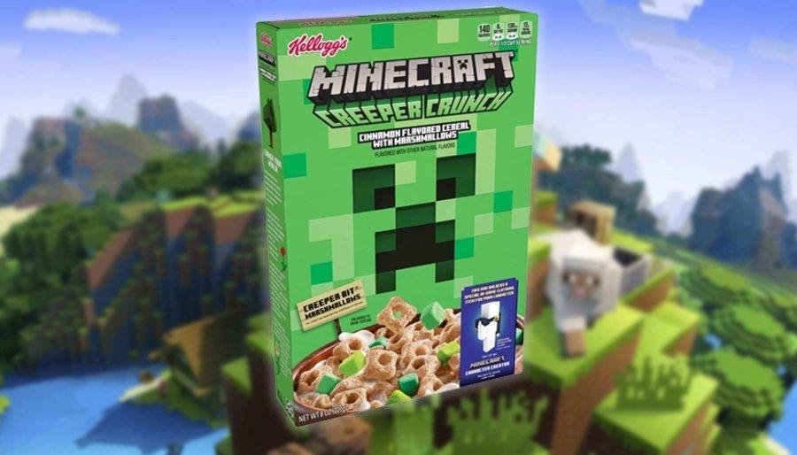 apariencia del nuevo cereal de Kellogs y Mojang de Minecraft