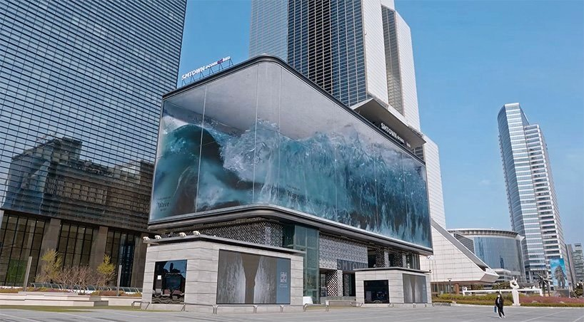 """La instalación """"Wave"""" ocupa uno de los edificios comerciales más famosos en Seúl"""