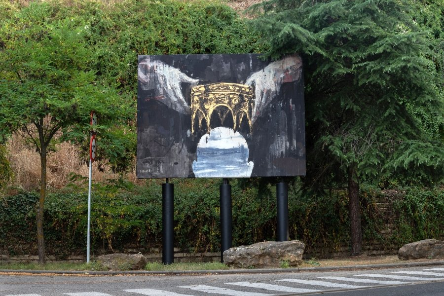 Pintura distribuida por Segovia de Gonzalo Borondo como parte de su serie Insurrecta que homenajea la guerra de Castillas de hace 500 años