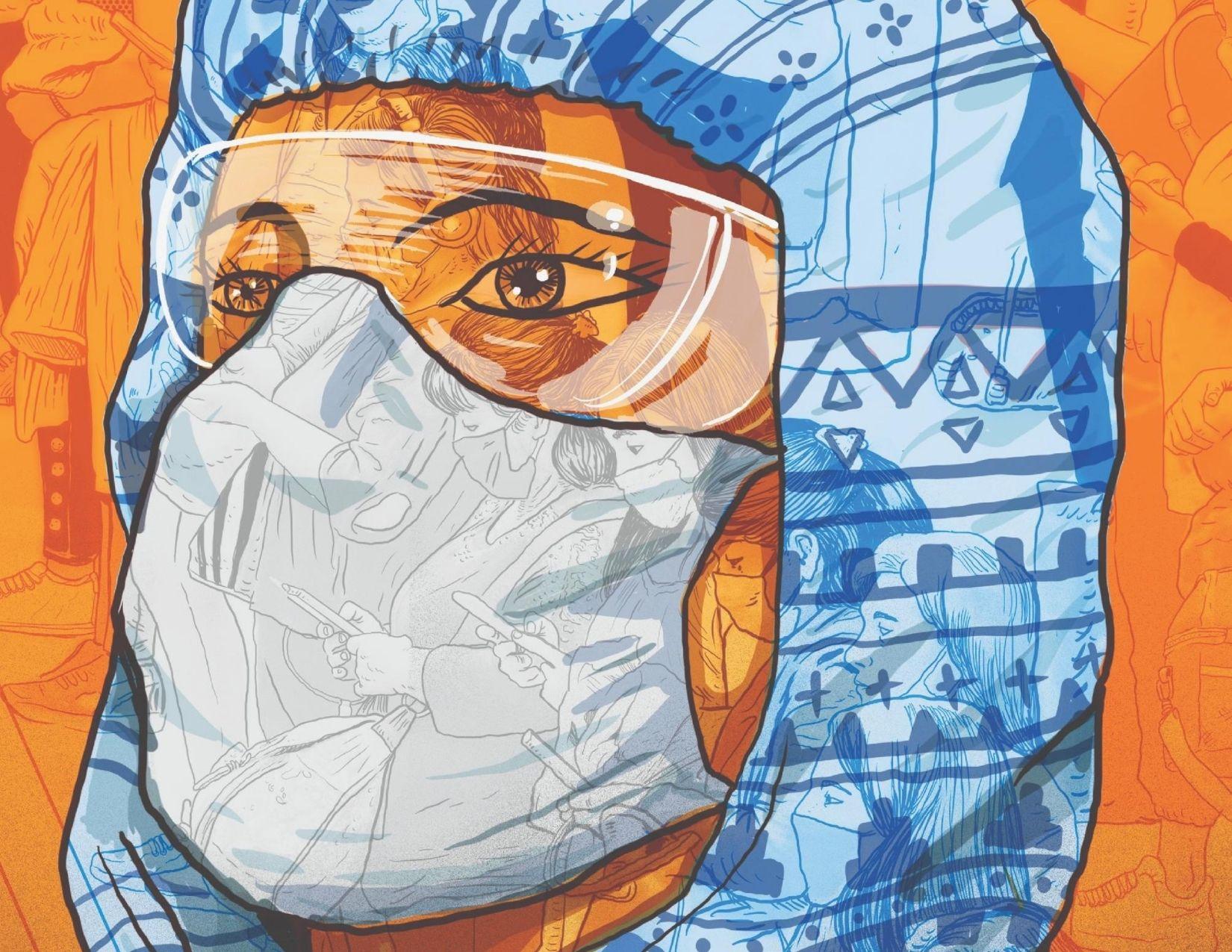 Ilustración del rostro de una persona del sector salud hecha por Saner