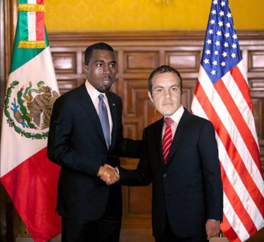 Fotomontaje de Kanye West y Cuauhtémoc Blanco estrechando su mano