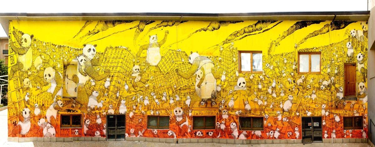 La Pandemia, el nuevo mural de Blu en Italia