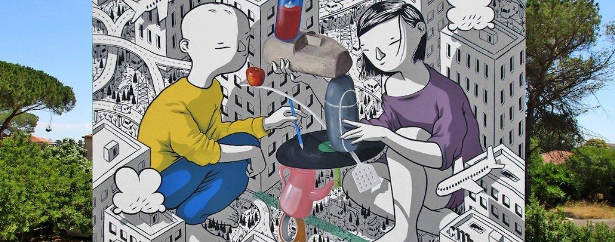 Millo presentó «Balance», su nuevo mural en Italia