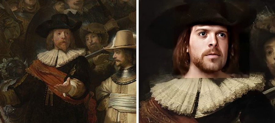 Rembrandt van Rijn – The Night Watch (1642) /rostros de pinturas famosas en la versión de Denis Shiryaev
