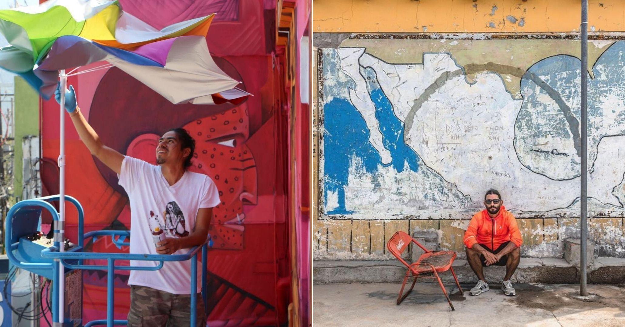 fotografía de Saner pintando y de Santiago Arau sentado