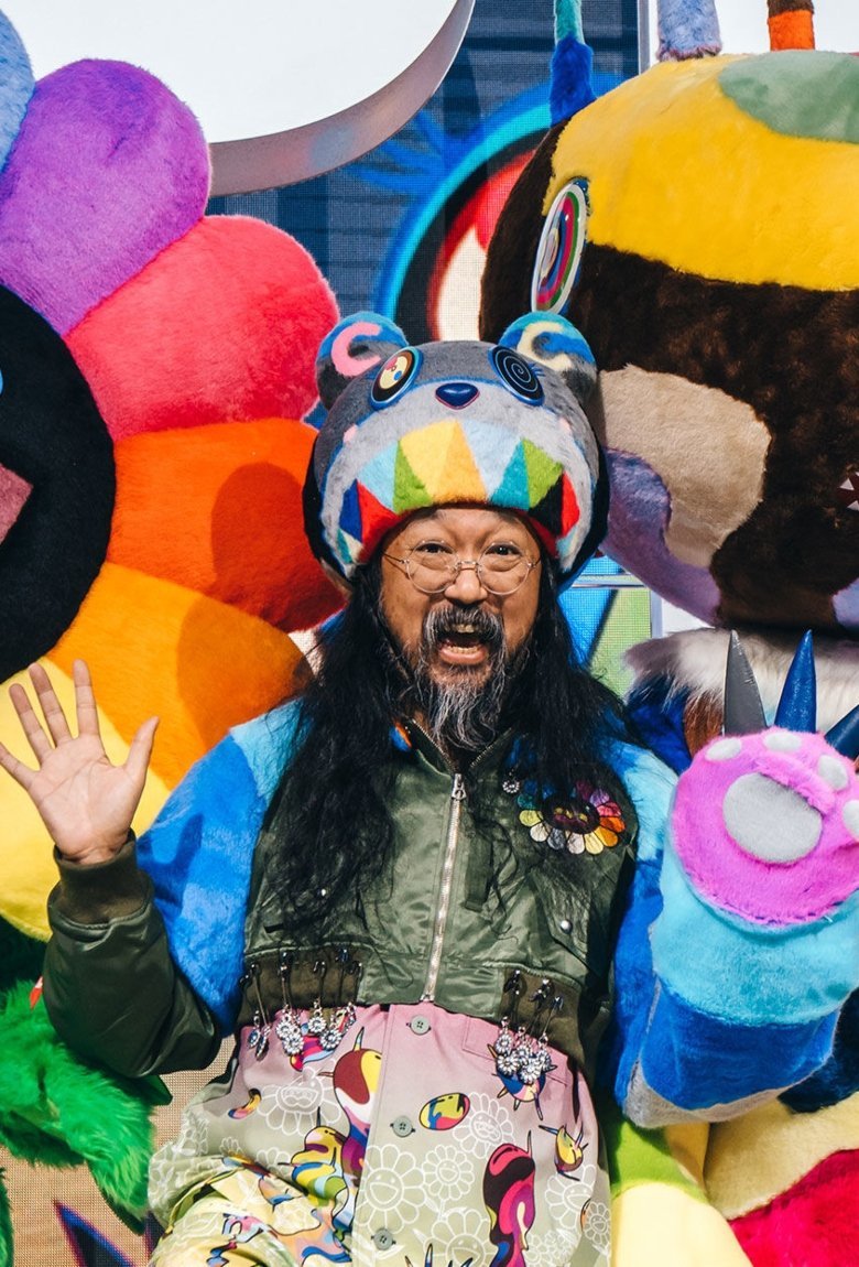Takashi Murakami and Hello Kitty working on a project with Sanrio